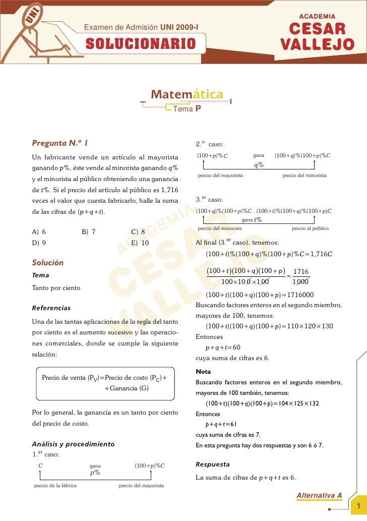 SOLUCIONARIO EXAMEN DE ADMISION UNI MATEMATICA 2009 I