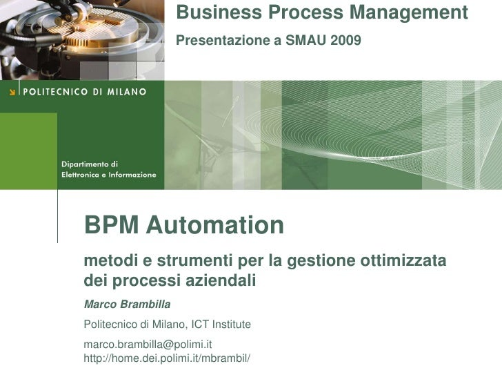 Business process modeling and automatic management