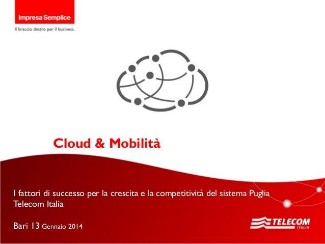 GRUPPO TELECOM ITALIA  Il Digitale per lo sviluppo della mia Impresa Torino, 26 novembre 2013  Cloud & Mobilità  I fattori...