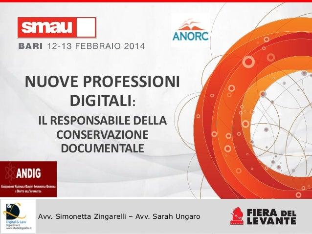 Titolo della presentazione Avv. Simonetta Zingarelli – Avv. Sarah Ungaro NUOVE PROFESSIONI DIGITALI: IL RESPONSABILE DELLA...