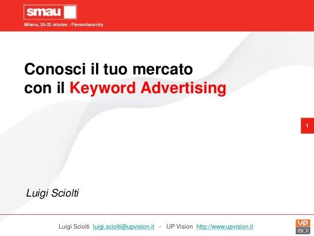 Milano, 20-22 ottobre - Fieramilanocity 1 Conosci il tuo mercato con il Keyword Advertising Luigi Sciolti Luigi Sciolti lu...