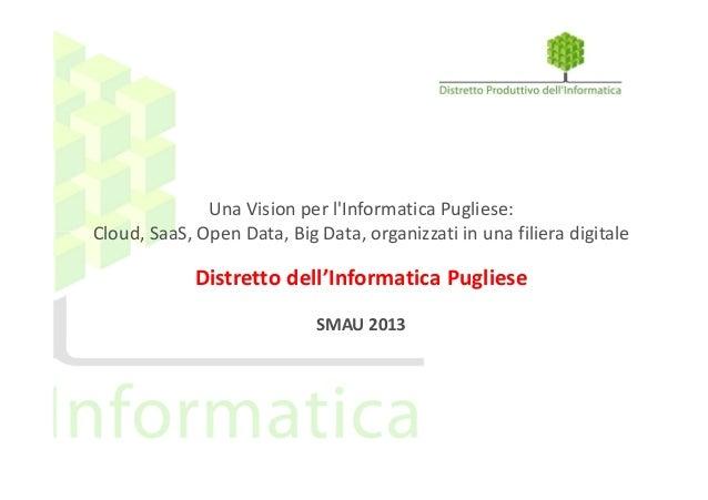 Una Vision per l'Informatica Pugliese: Cloud, SaaS, Open Data, Big Data, organizzati in una filiera digitale  Distretto de...