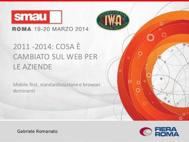 Titolo della presentazione Gabriele Romanato 2011 -2014: COSA È CAMBIATO SUL WEB PER LE AZIENDE Mobile first, standardizza...