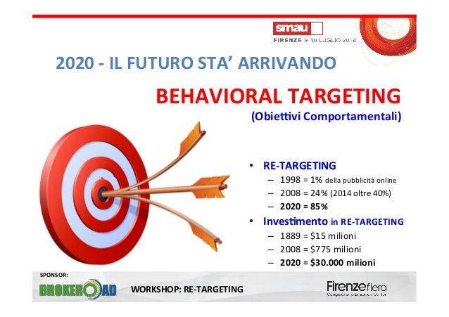 WORKSHOP:  RE-‐TARGETING   SPONSOR:   2020  -‐  IL  FUTURO  STA'  ARRIVANDO   sultano   e  a   0...