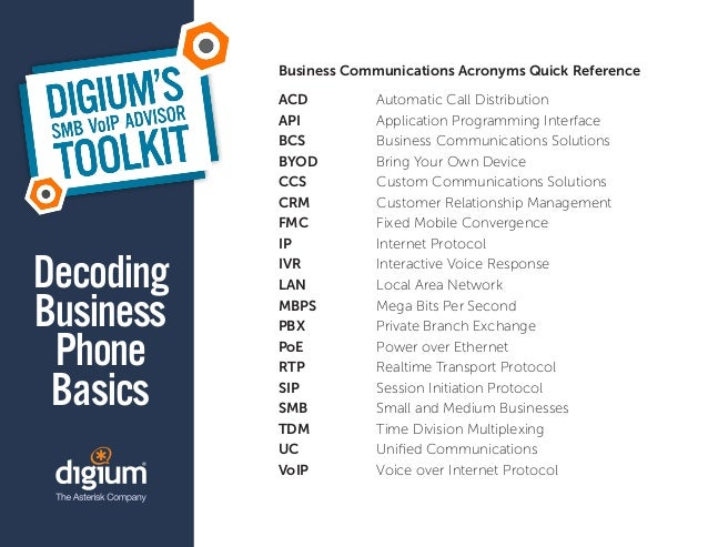Business Communications Acronyms Quick Reference           ACD          Automatic Call Distribution           API         ...