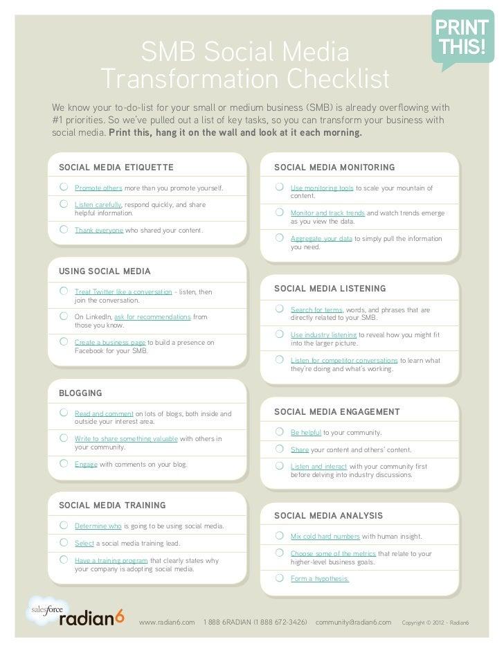 SMB Social Media Transformation Checklist