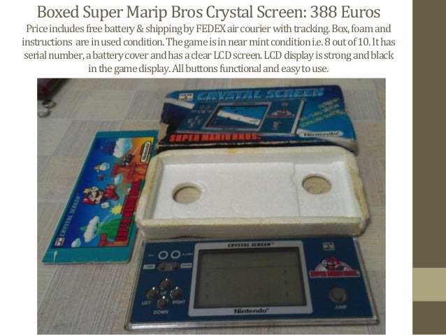 Boxed  Super  Marip  Bros  Crystal  Screen:  388  Euros   Price  includes  free  battery  &  shi...