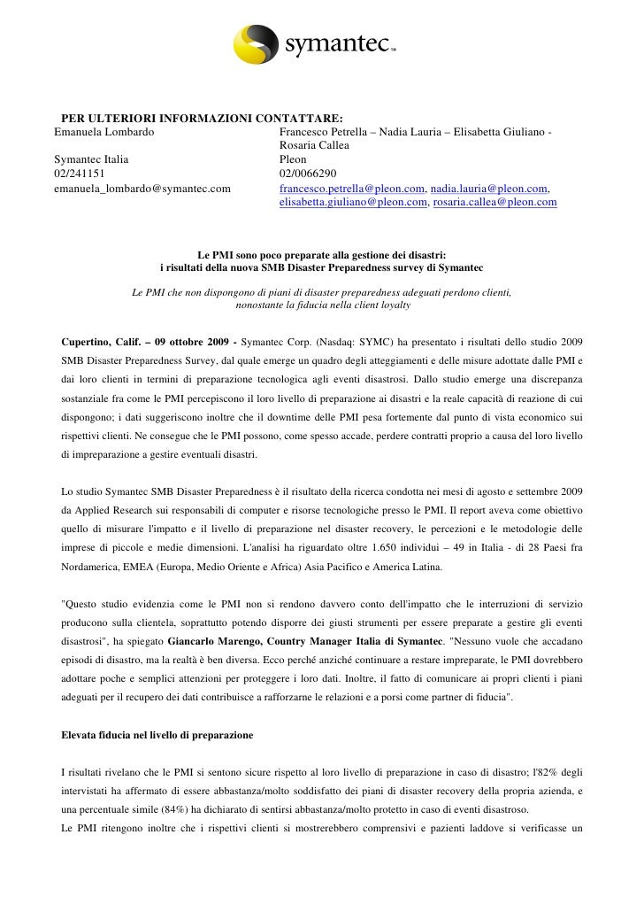 Smb Disaster Preparedness Survey Italia