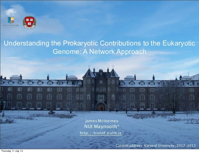 Understanding the Prokaryotic Contributions to the Eukaryotic Genome: A Network Approach James McInerney NUI Maynooth* htt...