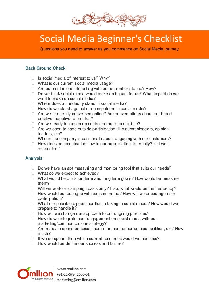 Social Media Beginners Checklist       Questions you need to answer as you commence on Social Media journeyBack Ground Che...