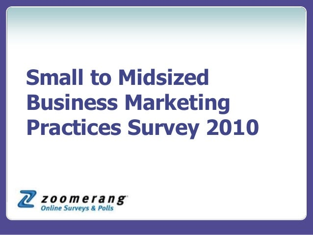 Small to Midsized Business Marketing Practices Survey 2010