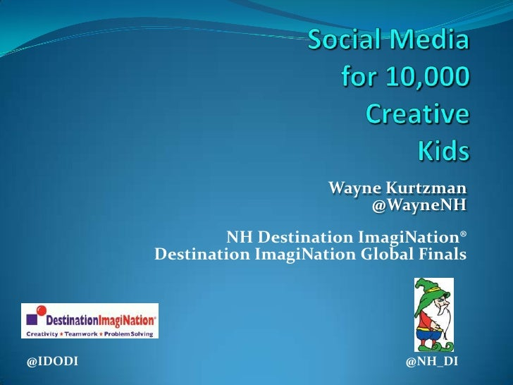 Social Mediafor 10,000CreativeKids <br />Wayne Kurtzman@WayneNHNH Destination ImagiNation® Destination ImagiNation Global ...