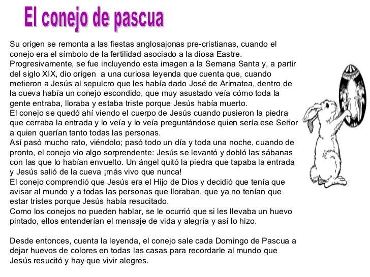 El conejo de pascua Su origen se remonta a las fiestas anglosajonas pre-cristianas, cuando el conejo era el símbolo de la ...