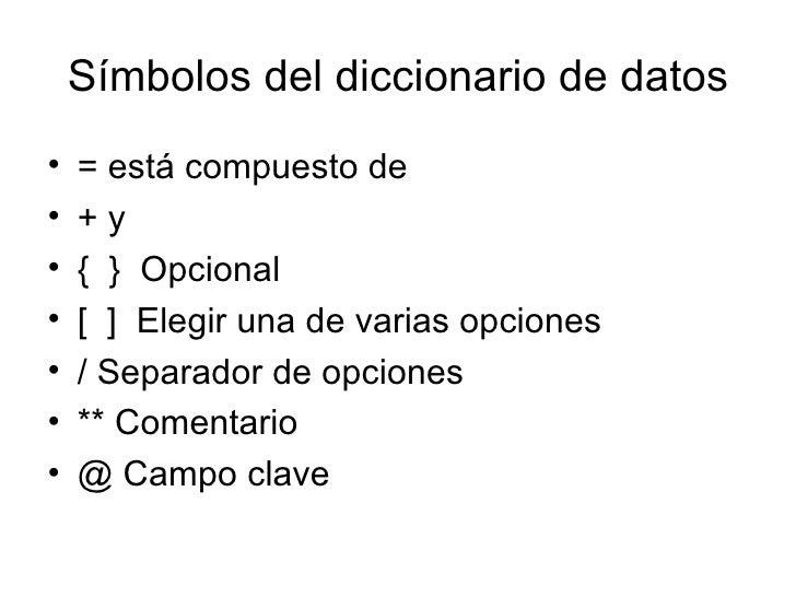 Símbolos del diccionario de datos <ul><li>= está compuesto de  </li></ul><ul><li>+ y </li></ul><ul><li>{  }  Opcional </li...