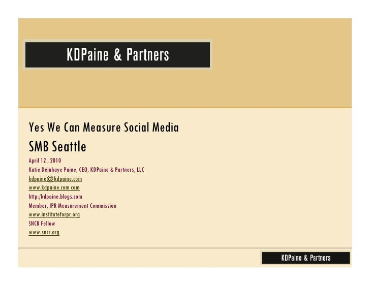 SMB Seattle - Yes We Can Measure Social Media
