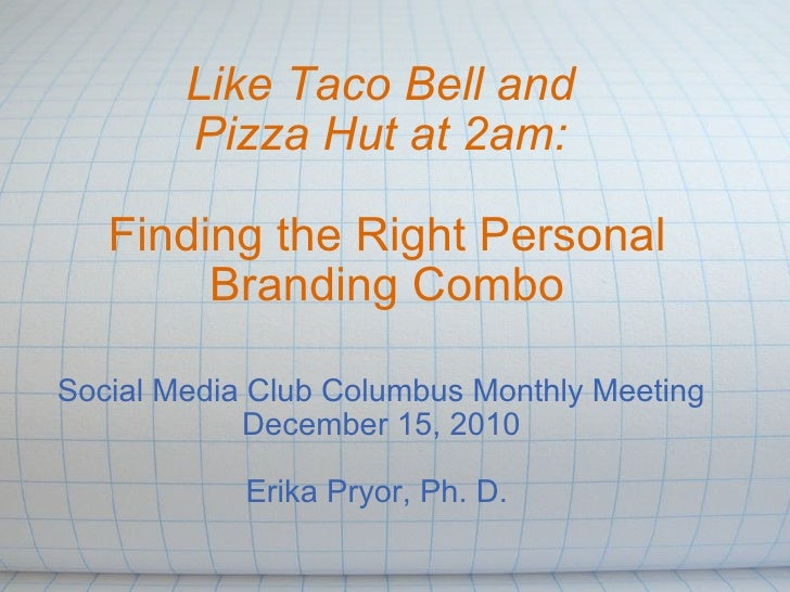 Like Taco Bell and Pizza Hut at 2am: Finding the Right Personal Branding Combo Social Media Club Columbus Monthly Meetin...