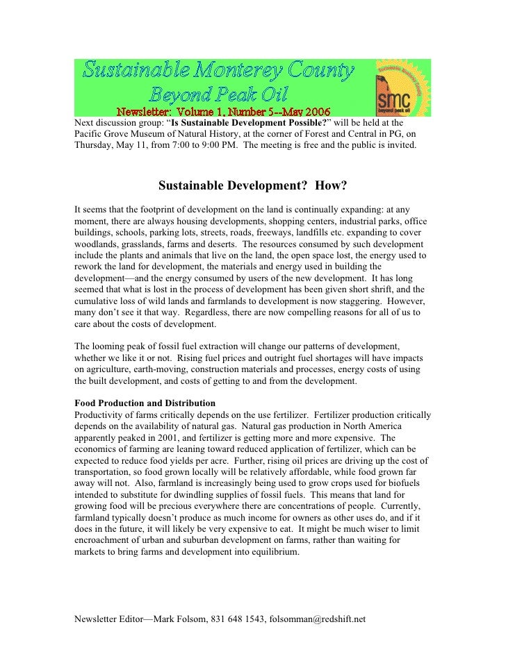 "Next discussion group: ""Is Sustainable Development Possible?"" will be held at the Pacific Grove Museum of Natural History,..."