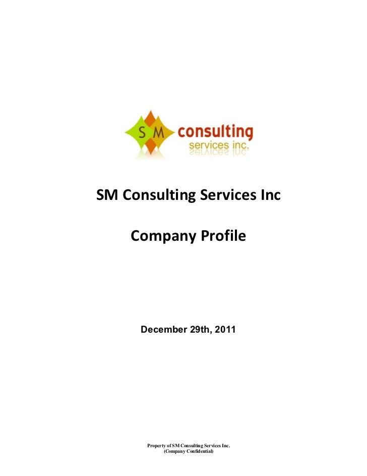 Consultancy Service Company : Sm consulting services inc company profile