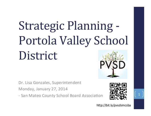 Strategic Planning Portola Valley School District Dr. Lisa Gonzales, Superintendent Monday, January 27, 2014 - San Mateo C...