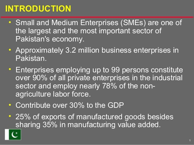 1INTRODUCTION• Small and Medium Enterprises (SMEs) are one ofthe largest and the most important sector ofPakistans economy...