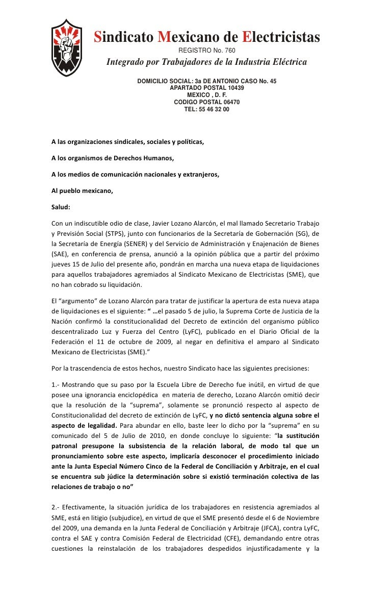 Sindicato Mexicano de Electricistas                                             REGISTRO No. 760                    Integr...