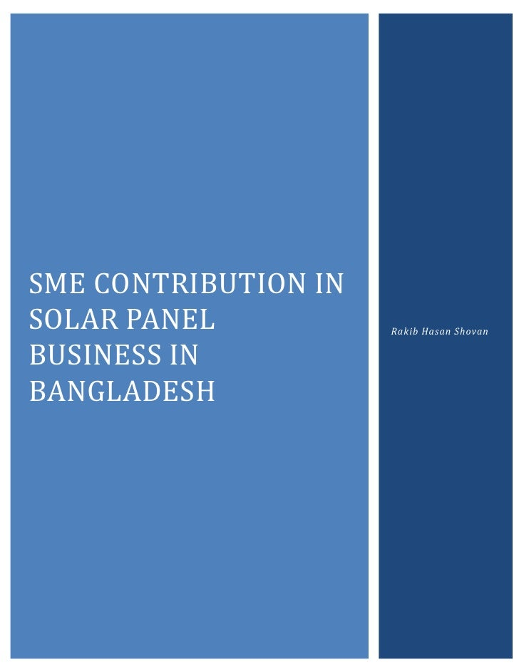 SME CONTRIBUTION INSOLAR PANEL           Rakib Hasan ShovanBUSINESS INBANGLADESH