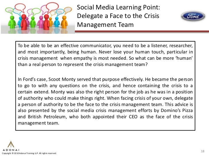 3 case studies in social media crisis management Crisis management - case study january 2011 p o box 159 debate on external action and media link the organizations involved in crisis management 3.
