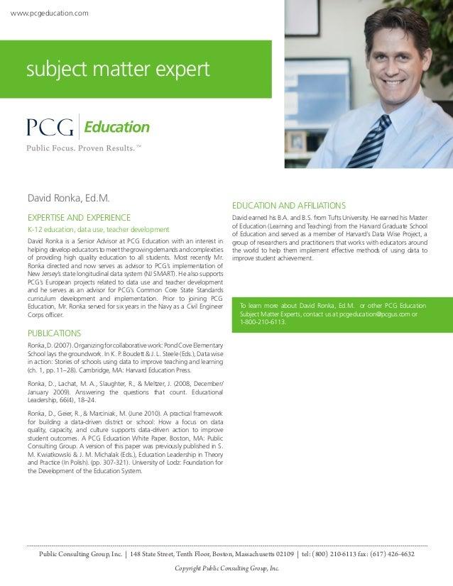 David Ronka, Ed. M., PCG Education Subject Matter Expert