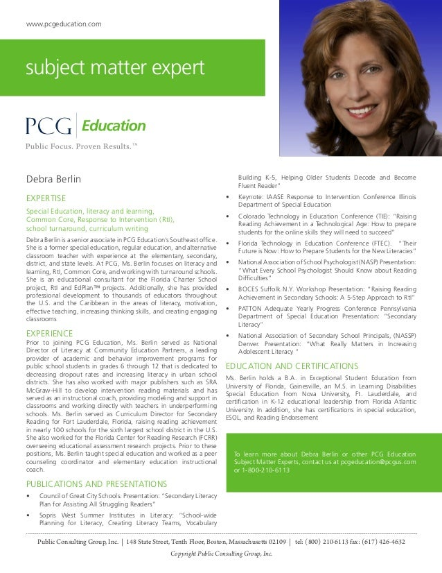 Debra Berlin, PCG Education Subject Matter Expert