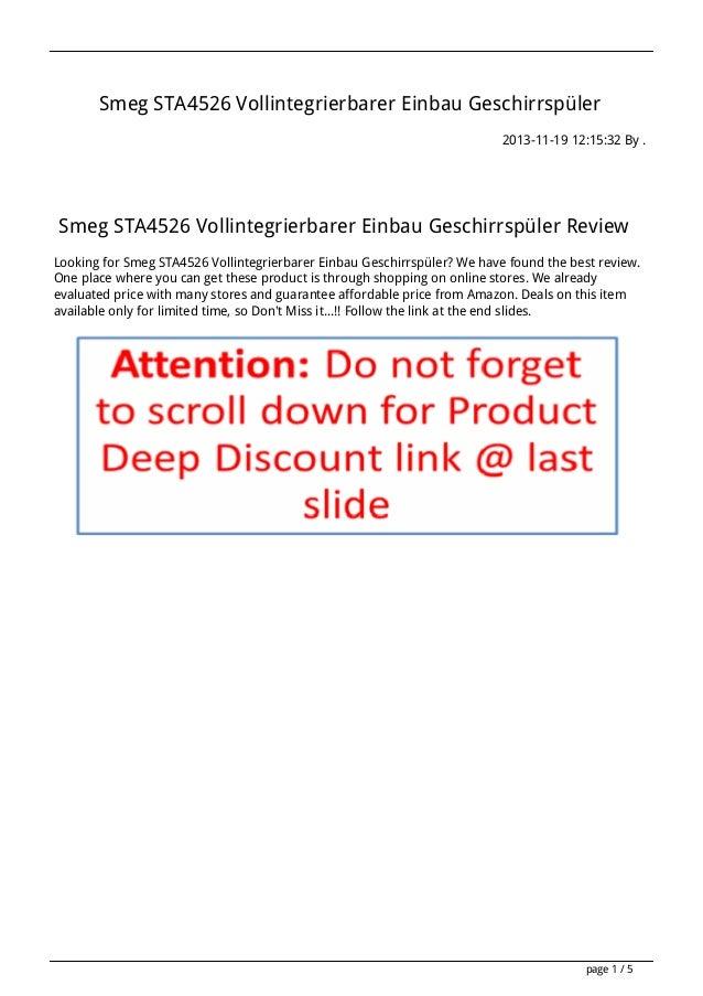 Smeg STA4526 Vollintegrierbarer Einbau Geschirrspüler 2013-11-19 12:15:32 By .  Smeg STA4526 Vollintegrierbarer Einbau Ges...