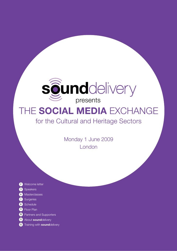 Social Media Exchange For The Cultural And Heritage Sectors Delegate Pack