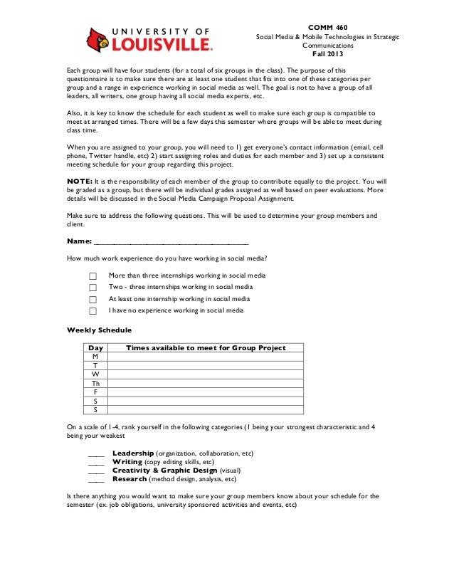 Social Media Group Campaign Proposal Questionnaire