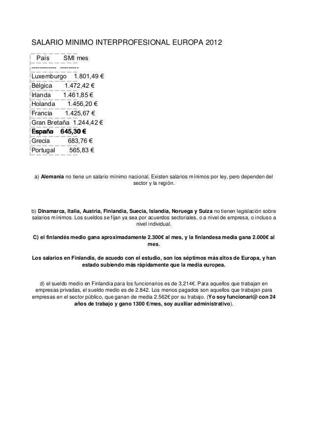 SALARIO MINIMO INTERPROFESIONAL EUROPA 2012 País SMI mes ------------ --------- Luxemburgo 1.801,49 € Bélgica 1.472,42 € I...