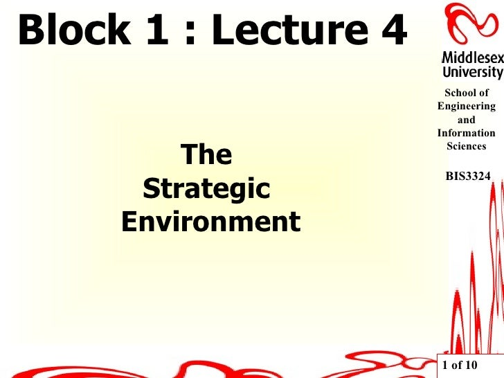 The  Strategic  Environment Block 1 : Lecture 4