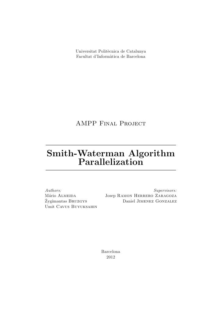Smith waterman algorithm parallelization