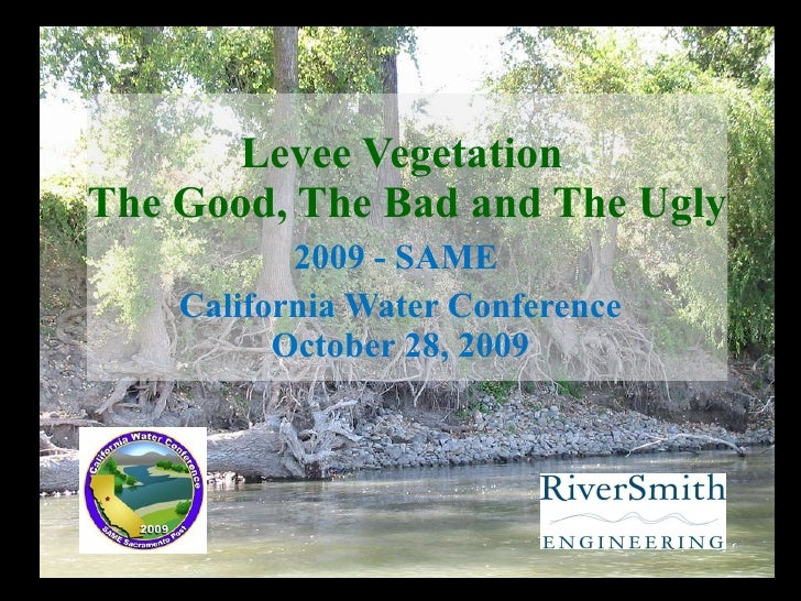 Levee Vegetation  The Good, The Bad and The Ugly 2009 - SAME  California Water Conference October 28, 2009