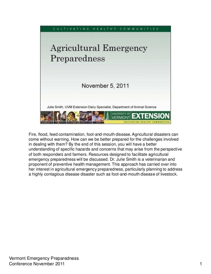 Fire, flood, feed contamination, foot-and-mouth disease. Agricultural disasters can        come without warning. How can w...