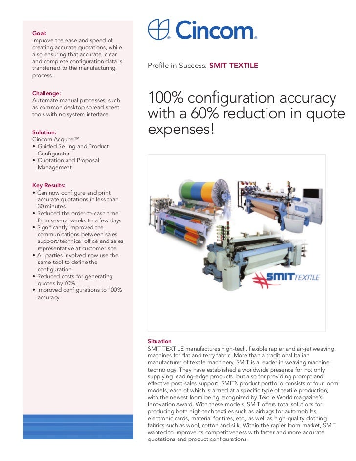 Smit textile 100% configuration accuracy with a 60% reduction in quote expenses!.pdf'