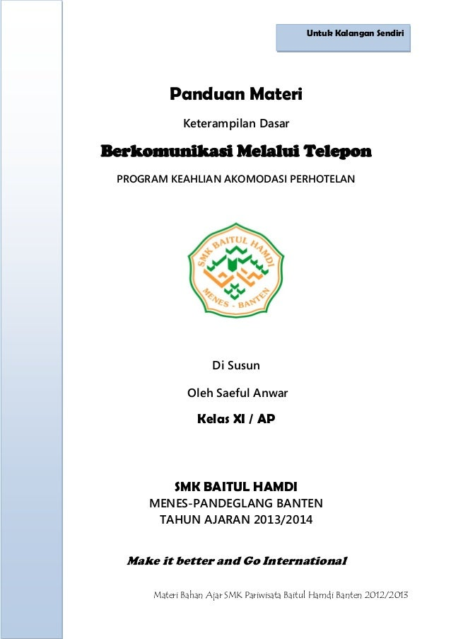 SMK Pariwisata Baitul HAmdi Banten panduan materi berkomunikasi