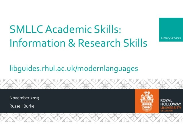 SMLLC Year 1 UG Academic Skills sessions - Information & Research Skills (Library)