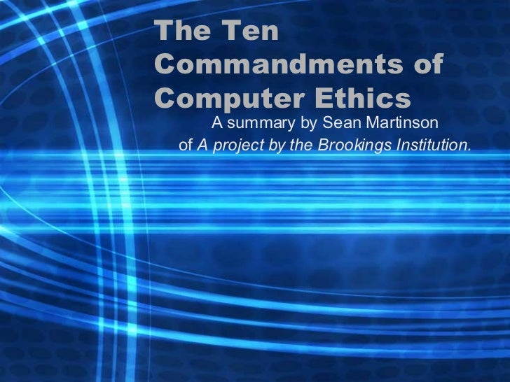 The 10 Commandments of Computer Ethics