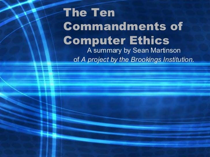 The 10 Commandments of Computer Ethics