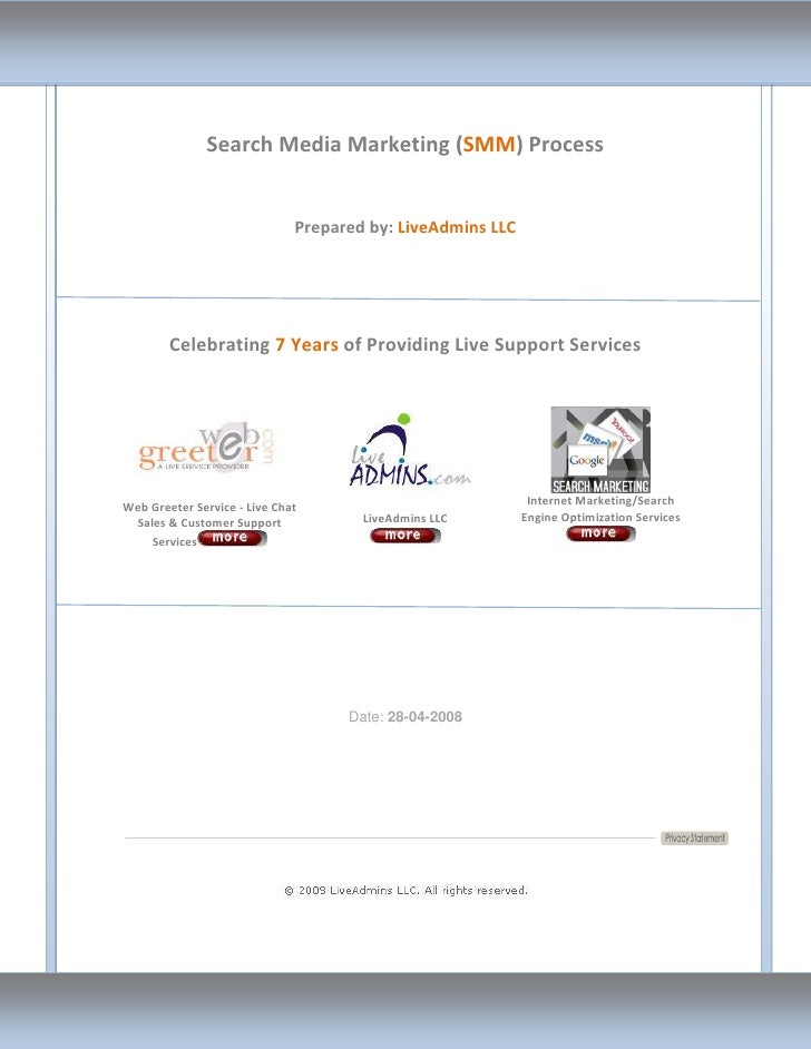 Search Media Marketing (SMM) Process                                 Prepared by: LiveAdmins LLC             Celebrating 7...