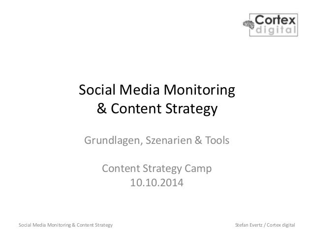Social Media Monitoring & Content Strategy Stefan Evertz / Cortex digital Social Media Monitoring & Content Strategy Grund...