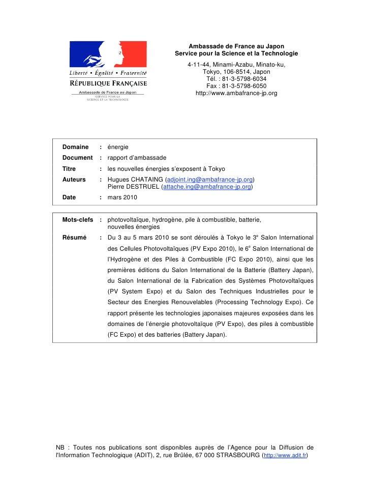 Ambassade de France au Japon                                          Service pour la Science et la Technologie           ...
