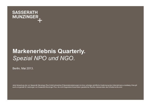 SM+ Markenerlebnis Quarterly Spezial NPO und NGO