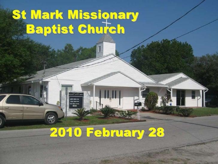 St Mark Missionary Baptist Church Announcements - 2010 Feb 28
