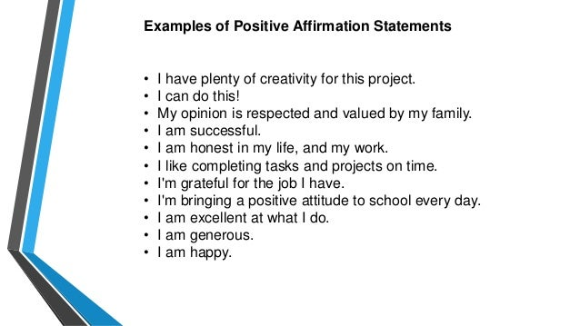 Affirmation examples choice image example cover letter for resume positive affirmation statements examples tony robbins events altavistaventures Gallery