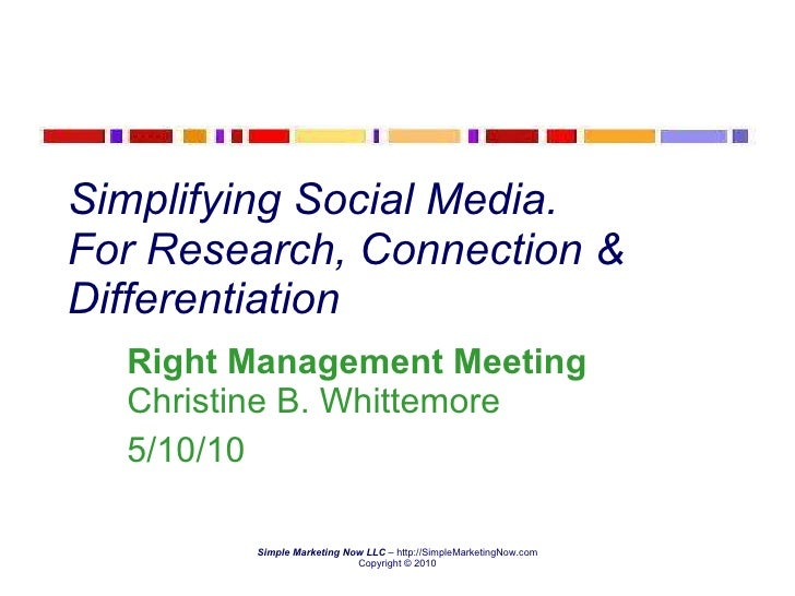 Simplifying Social Media.  For Research, Connection & Differentiation Right Management Meeting  Christine B. Whittemore 5/...