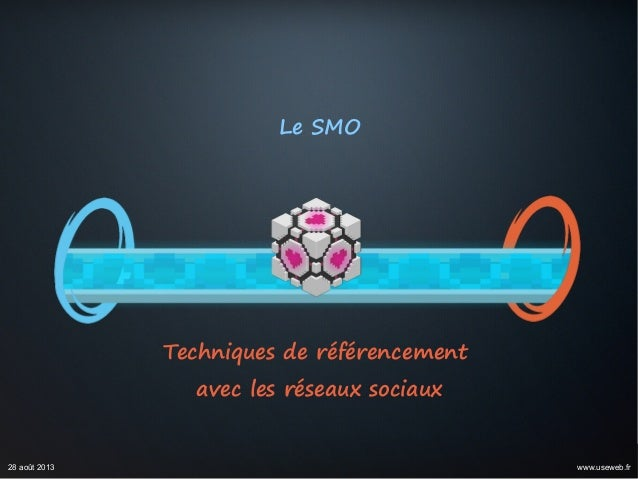 Le SMO Techniques de référencement avec les réseaux sociaux 28 août 2013 www.useweb.fr